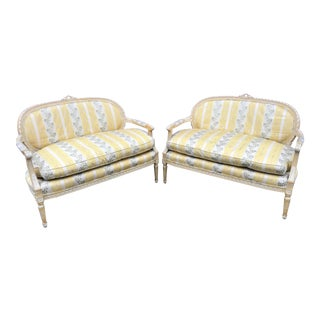 1970s Vintage French Revival Settees- A Pair For Sale