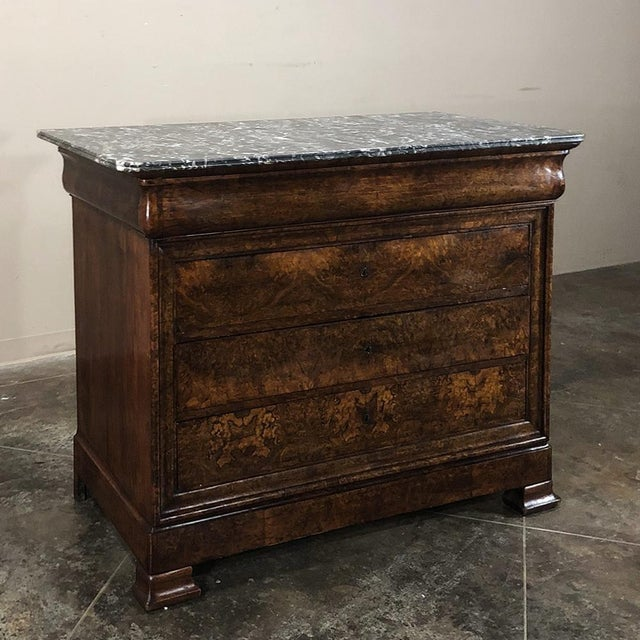 19th Century Louis Philippe Burl Walnut Marble Top Commode For Sale - Image 11 of 11