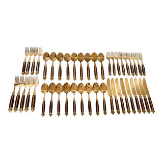 Mid-Century Rosewood & Brass Inlay Flatware Set- 45 Pieces For Sale