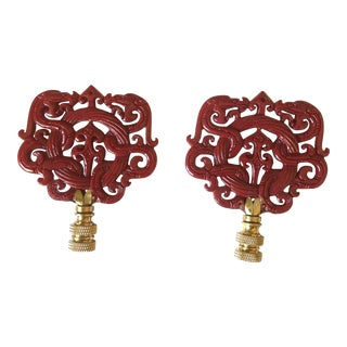 Red Chinoiserie Lamp Finials Dragon and Wreath Motif - a Pair For Sale