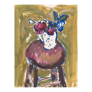 'Roses in a White Jug' by Victor Di Gesu; 1968, Paris, Louvre, Académie Chaumière, California Post-Impressionist, Sfaa For Sale