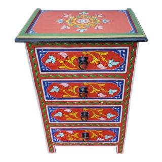 Moroccan Hand Painted Red Wooden Nightstand For Sale