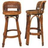 Image of Rattan Bar Stool Pair With Woven Wicker Seats, Set of Two For Sale