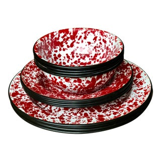 Modern Red & White Enamelware Dishes - Set of 12 For Sale