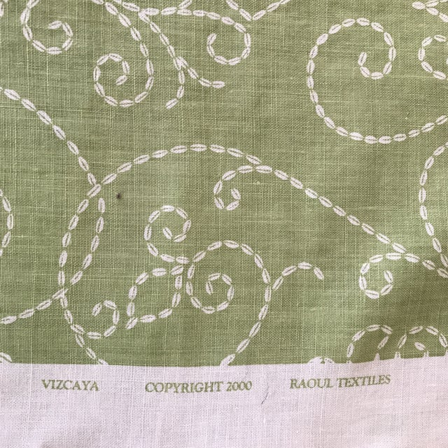 "Green Raoul ""Vizcaya"" Textiles Green Linen Fabric 2 1/3 Y For Sale - Image 8 of 9"
