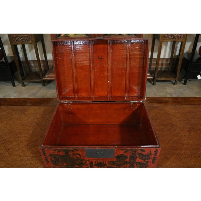 Black Chinese Red Lacquer Painted Trunk For Sale - Image 8 of 9