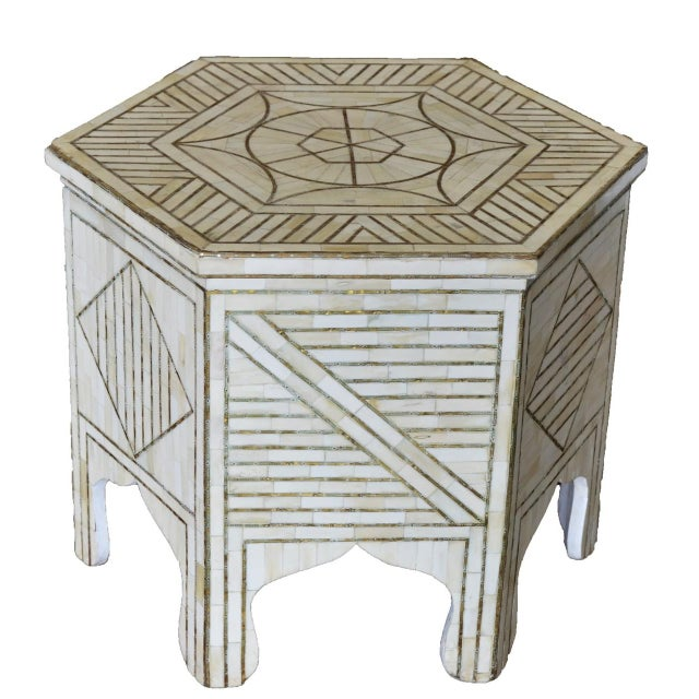 Mid 20th Century Indian Hexagonal Bone Inlay W/ Brass Side Table For Sale - Image 5 of 5