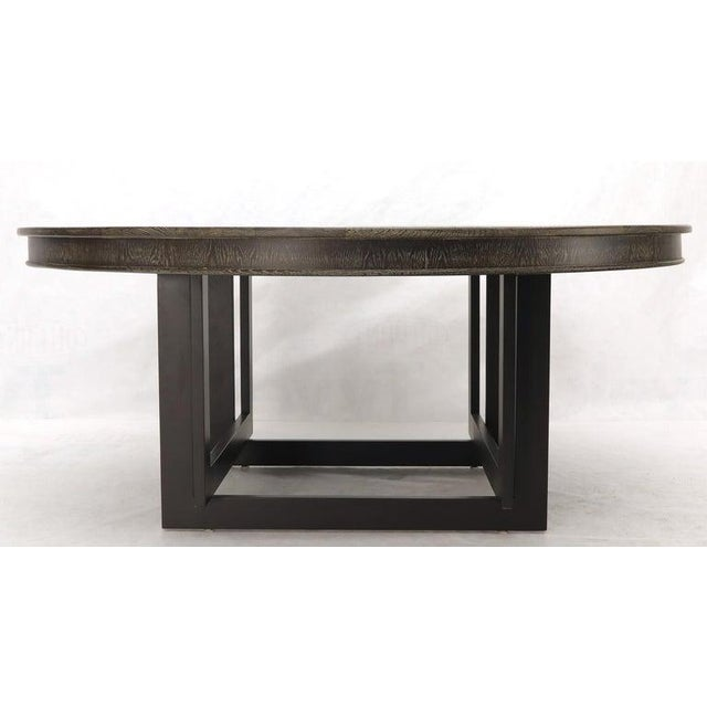 Large Oversize in Diameter Round Cerused Limed Oak Dining Table For Sale - Image 11 of 13