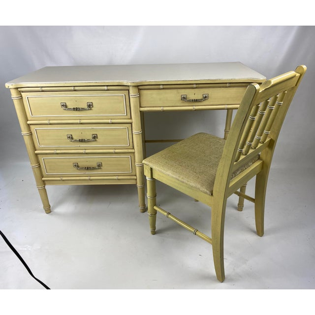 """1960s Hollywood Regency Henry Link """"Bali Hai"""" Faux Bamboo Desk W/ Chair - 2 Pieces For Sale - Image 11 of 11"""