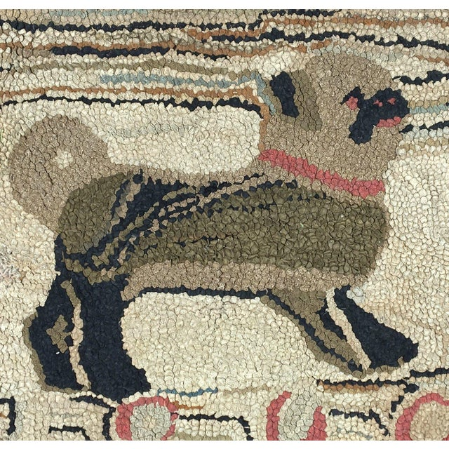 """Rare and absolutely charming 19th Century American hooked rug featuring a pug. Dated 1898. Repair of approx 3 x 3"""" under..."""