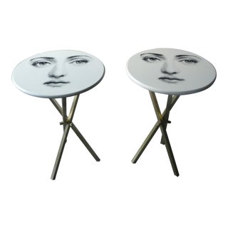 1960s Mid-Century Modern Piero Fornasetti Iconic Face Occasional Tables - a Pair For Sale
