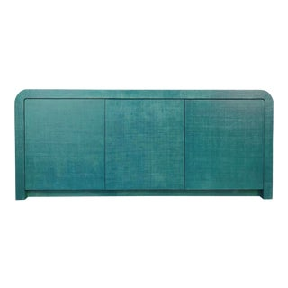 Karl Springer Style Teal Lacquered Grasscloth Waterfall Credenza For Sale