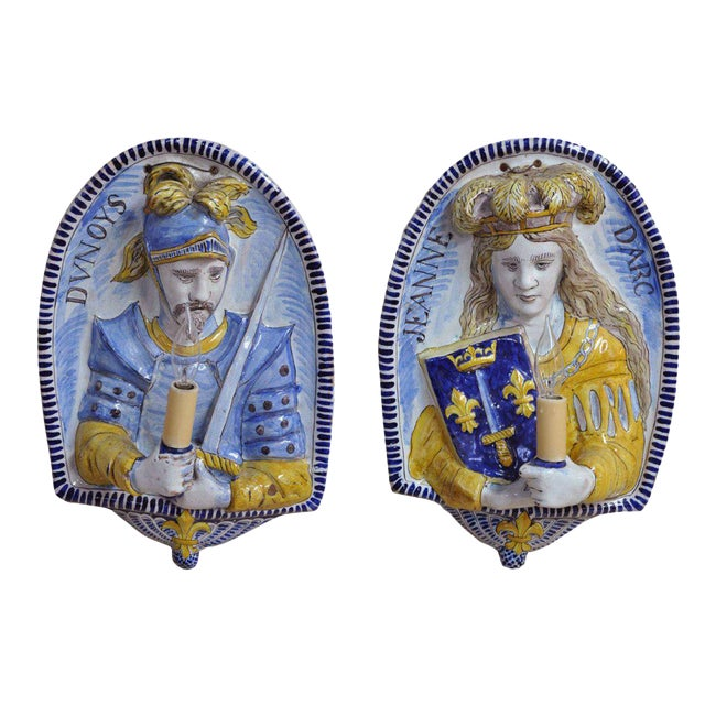 19th Century French Joan of Arc & Duc d'Orleans Faience Sconces - A Pair For Sale