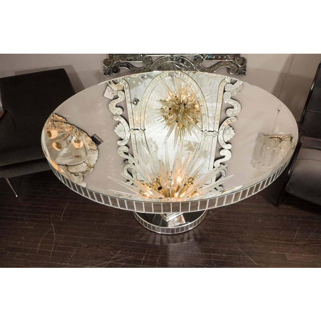 Glass Custom Round Mirrored Dining Table For Sale - Image 7 of 8