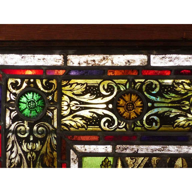 Traditional Late 19th Century Traditional Polychrome Stained Glass Window For Sale - Image 3 of 4