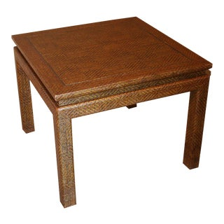 Bronze Inlay Raffia Tables - A Pair For Sale