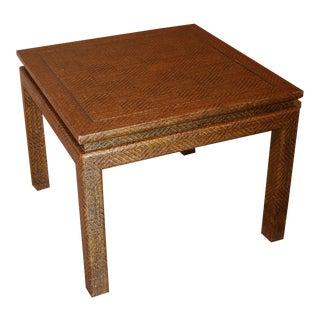 Bronze Inlay Raffia Tables - A Pair
