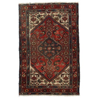 Hand-Knotted Wool Persian Hamadan - 4′ × 6′2″ For Sale