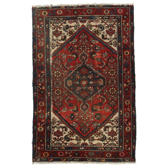 RugsinDallas Hand-Knotted Wool Persian Hamadan - 4′ × 6′2″ For Sale