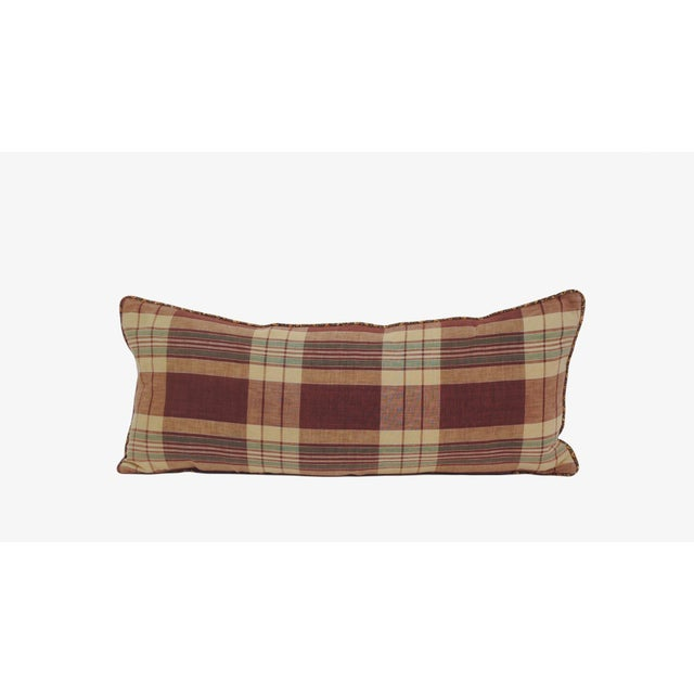 Country Japanese Shima Plaid Pillow For Sale - Image 3 of 3