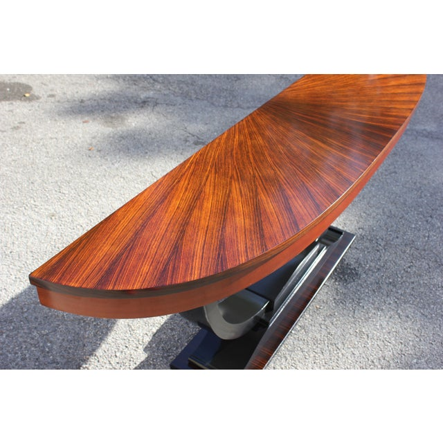 1940s 1940s Art Deco Exotic Macassar Ebony ''Sunburst'' Console Table For Sale - Image 5 of 13