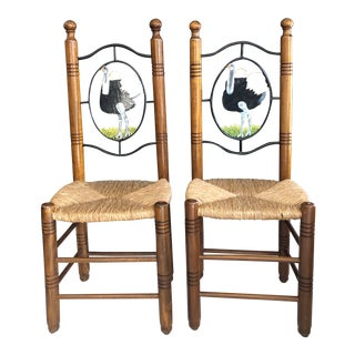 Rustic Farmhouse Vintage Chairs With Rush Seats - a Pair For Sale