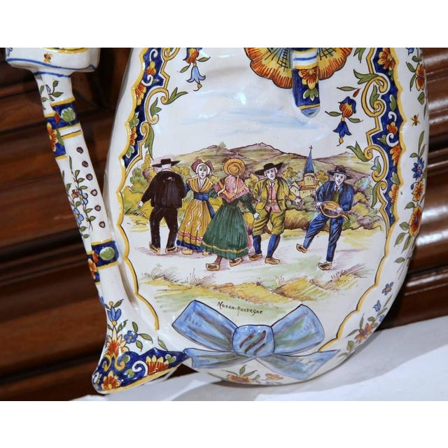 French 19th Century French Hand-Painted Faience Wall Bagpipe For Sale - Image 3 of 8