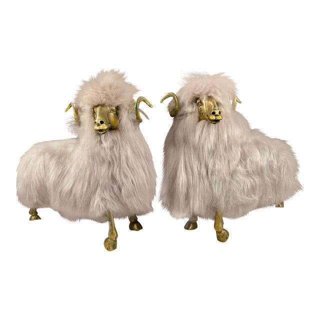 Lalanne Style Bronze Sheep Sculptures - a Pair For Sale
