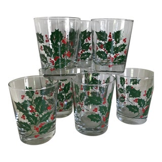 Vintage Indiana Glass Company Christmas Holly 14 Ounce Tumblers - Set of 8 For Sale