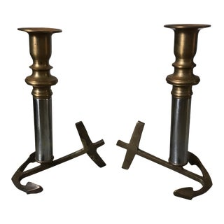 Brass Anchor Candlesticks - A Pair For Sale