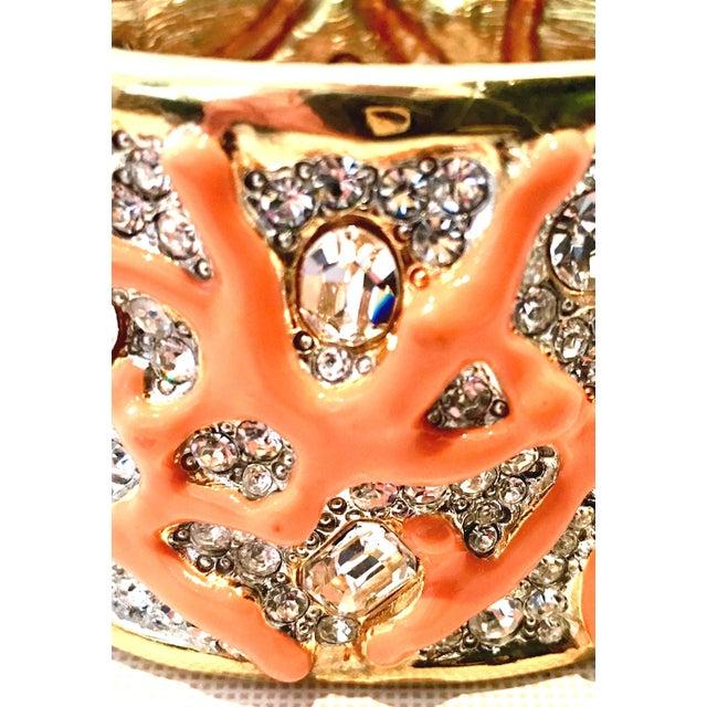 Orange 21st Century Kenneth Lane Gold & Faux Coral Swarovski Crystal Bracelet For Sale - Image 8 of 11