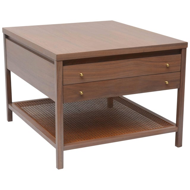 Greige Walnut Side Table by Paul McCobb for Calvin For Sale
