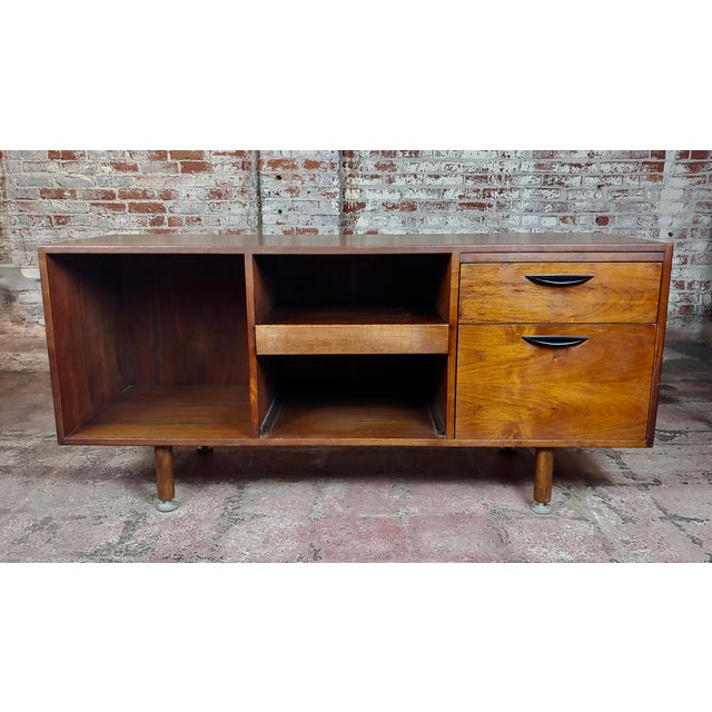 "Jens Risom -Danish Mid Century Modern Walnut Credenza-c1950s size 58 x 20 x 27"" A beautiful piece that will add to your..."