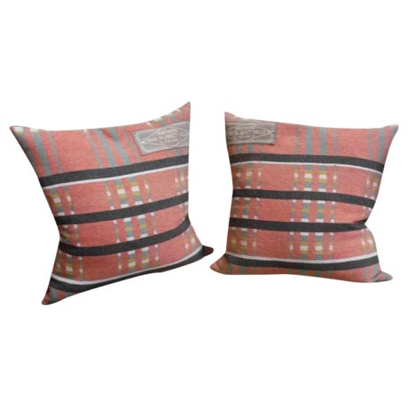 Pair of 19th Century Northern Ohio Blanket Mills Horse Blanket Pillows - Image 1 of 5