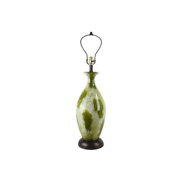 1960s Mid-Century Green Drip-Glaze Lamp For Sale - Image 5 of 5