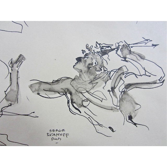 Serge Ivanhoff Figural Studies, 1949 Ink Drawing - Image 4 of 6