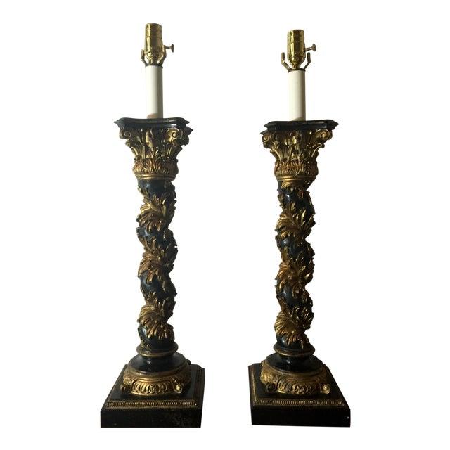 Italian Regency Black Lacquer Column Lamps - A Pair For Sale