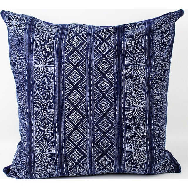 Sunray Hmong Indigo Batik Handmade Pillow Cover - Image 2 of 4