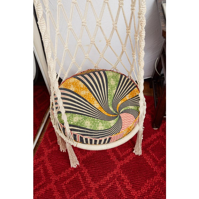 Vintage Boho Chic Macrame Hanging Chair For Sale - Image 11 of 13