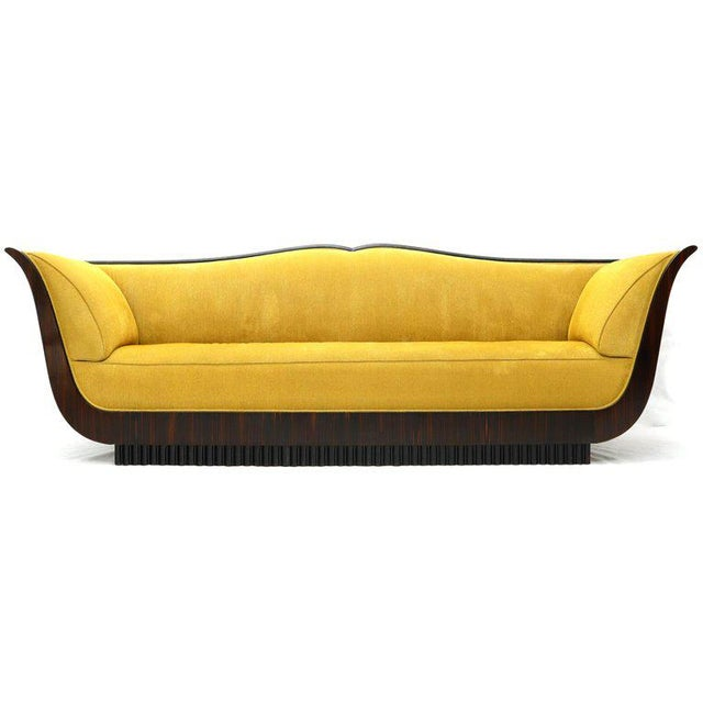 Large French Art Deco Rosewood Sofa in Gold Upholstery Scalloped Edge For Sale - Image 13 of 13