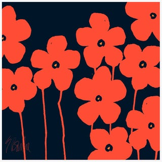 "Fabulous Flowers Orange and Navy Fine Art Print 46"" X 46"" by Liz Roache For Sale"