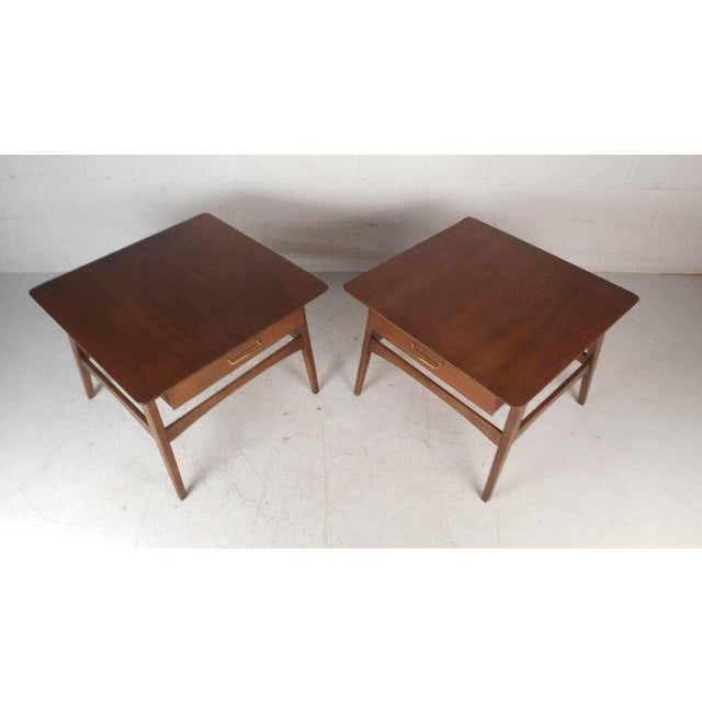 Mid-Century Modern Vintage Modern Walnut Nightstands - A Pair For Sale - Image 3 of 9