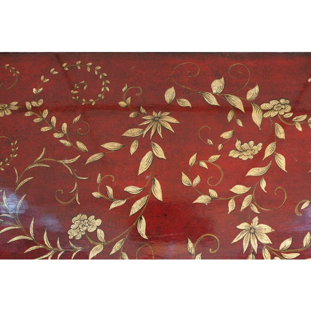 Chinoiserie Chinoiserie Burgundy Red Coffee/Cocktail Table With Gilt Floral Design For Sale - Image 3 of 6