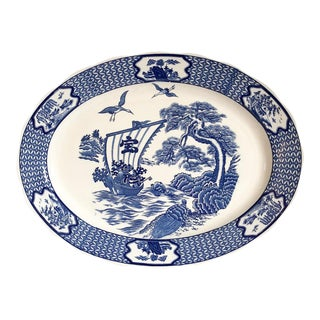 Large Japanese Blue & White Turkey Platter For Sale