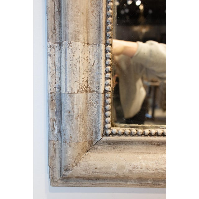 Glass Antique French Louis Philippe Mirror With Hand Painted Greige Stripe Finish For Sale - Image 7 of 13
