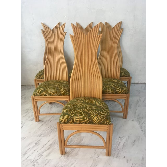 Brown Rattan Dining Chairs, Set of Six For Sale - Image 8 of 10
