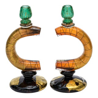 Pair of Murano Art Glass Candle Holders For Sale