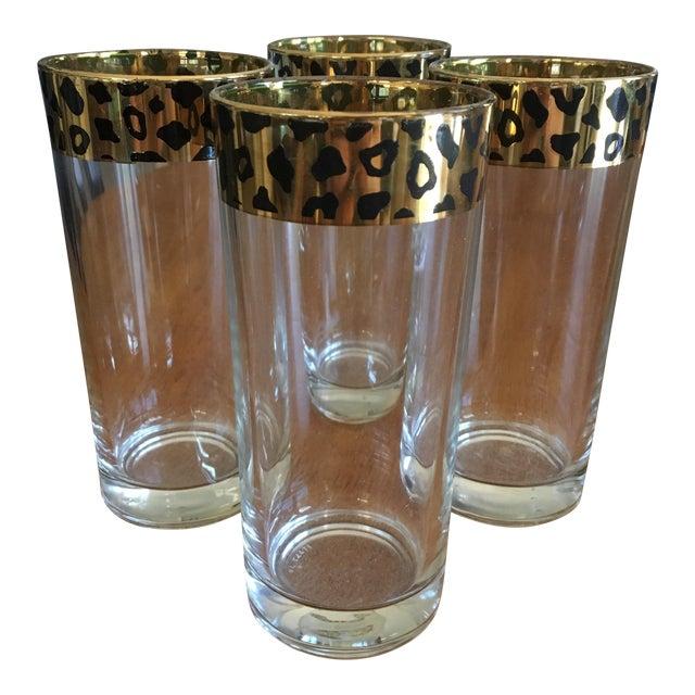 Italian Black & Gold Cheetah Print Glasses - Set of 4 - Image 1 of 10