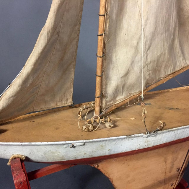 Late 19th Century Tin Pond Sailboat on Stand For Sale - Image 10 of 11