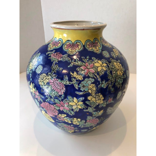 Vintage Blue Chinoiserie Ceramic Vase For Sale - Image 12 of 12